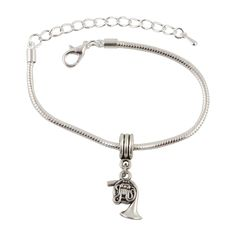 French Horn Musical Instrument Snake Chain Charm Bracelet