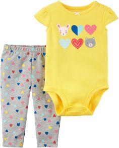 219738778 Carter's Baby Girls Heart Bodysuit Set Baby Girl Pants, Little Girl Fashion,  Babies Clothes