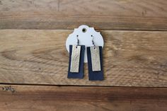 Leather Black and Gold Bar Earrings by laborofleather on Etsy