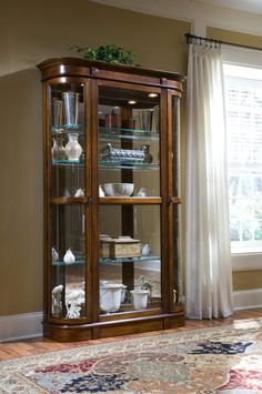 Curios Curved End Curio Cabinet In Rno Brown Closeout Dining Room Table Sets Bedroom Furniture Cabinets And Solid Wood Model