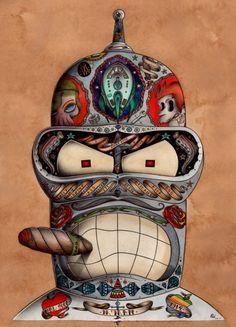 Pimp My Futurama – The twisted Pop Surrealist universe of Odö aka Nicolas Le Borgne Bizarre Kunst, Bizarre Art, Illustration Arte, Illustrations, Pop Art Poster, Comics Vintage, Street Art, Posca Art, Cartoon Tattoos