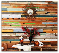 The coolest accent wall, using reclaimed wood. I used this in the 70's decorating restaurants and homes. Glad it's back in style. No lumber costs!