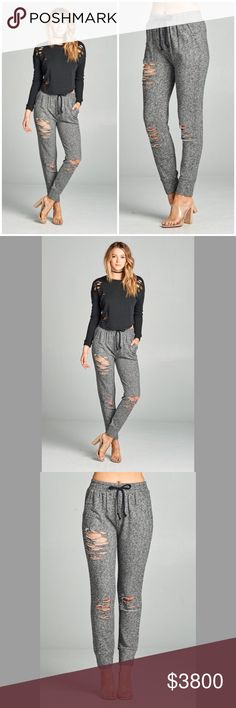 Heather Grey Distressed Skinny Joggers Coming ❣️Heather Grey Distressed Skinny Joggers Also available in Black  70% Cotton, 30% Polyester  No Trades Price Firm Unless Bundled GlamVault Pants Leggings