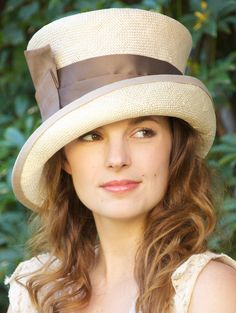 Kentucky Derby Hat - Cream & Taupe Cloche (TOP Hat style).     AwardMillineryDesign.com