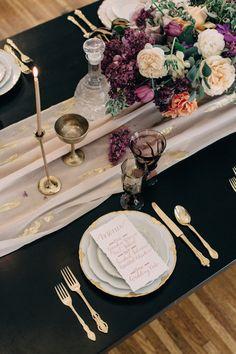 purple and gold wedding reception place setting Wedding Chicks Day of Gal Weddings Gustav Klimt inspired wedding Inspired shoot