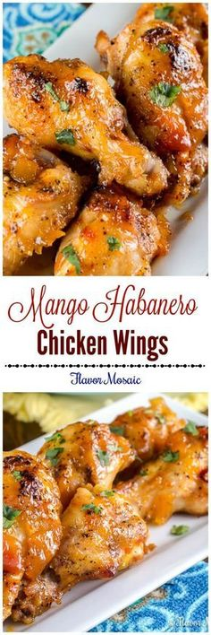 Mango Habanero Wings are sweet and spicy chicken wings with a Mango Habanero glaze made with Mango Habanero Salsa and peach preserves. Serve this appetizer at your next party. via Flavor Mosaic chicken wings recipe Sweet And Spicy Chicken, Chicken Wings Spicy, Chicken Wing Recipes, Fried Chicken, Spicy Wings, Chicken Curry, Chicken Tenders, Frango Chicken, Good Food