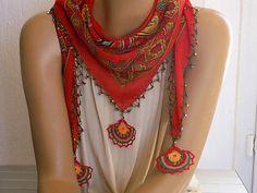 red beaded triangular scarf turkish crochet