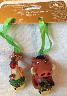 Disney Parks Timon And Pumba Lion King Bell Ornament Set