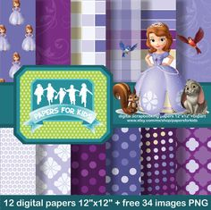 Digital Papers Sofia The First Princess by PapersforKids on Etsy