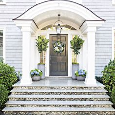 For those who do not know what a door overhang is, then we can define it for you. The thing that you should know about door overhang is that it is a tiny awning or cover that hangs over the door literally and protects you from sunlight, rain or snow. Front Door Steps, Front Door Entrance, Front Entrances, Front Door Decor, Front Doors, Door Entry, Colonial Front Door, Planters By Front Door, Portico Entry