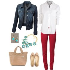 Casual work outfit, red jeans, white blouse, jean jacket and cute necklace. Can't go wrong.