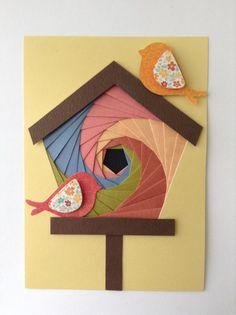 Iris fold birdhouse card