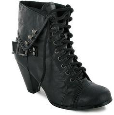 9695c6c3852 Combat Black Boots with short heel Lace Up Heel Boots