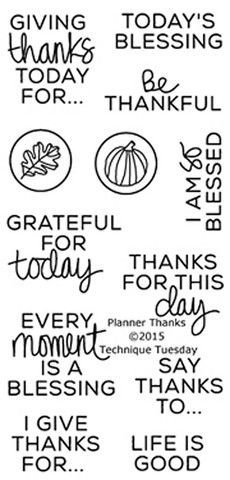 """TECHNIQUE TUESDAY: Planner Thanks (2"""" x 4"""" Clear Photopolymer Stamp) This clear photopolymer stamp set is great for your planners, calendars and pocket scrapbooks. Set measures approximately 2"""" x 4""""."""