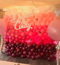 50 shades of #pink  Pink Ombre Balloon Wall for an engagement