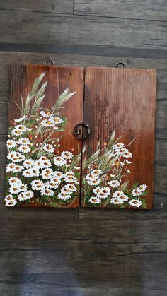 Daisy Painting, Fabric Painting, Pallet Painting, Painting On Wood, Beautiful Paintings Of Nature, Wood Pallet Crafts, Creative Wall Painting, Sunflower Canvas, Vintage Botanical Prints