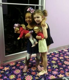 Our Ballerina Girls a small their American Girl Dolls at Ballet, Tap and Baton.