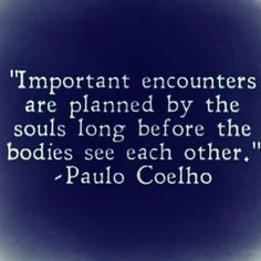 Important encounters are planned by the souls long before the bodies see each other. - Paulo Coelho