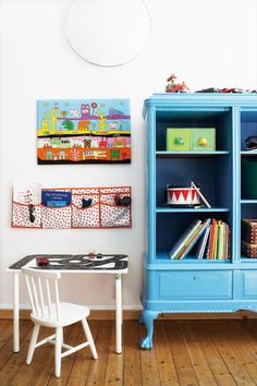 Painted furniture in childrens rooms. Love the 2 tone blue.