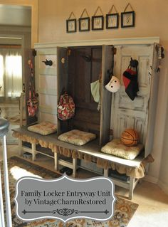 We built from mostly reclaimed pieces a wonderful version of the Pottery Barn Family Locker Entryway system.