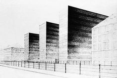 ludwig mies van der rohe one charles center rendering of helmut jacoby baltimore maryland. Black Bedroom Furniture Sets. Home Design Ideas