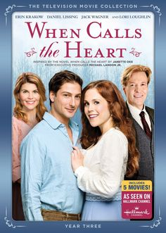 When Calls the heart. 3 seasons.  Erin Krakow and Daniel Lissing as Elizabeth Thatcher and Jack Thorton.
