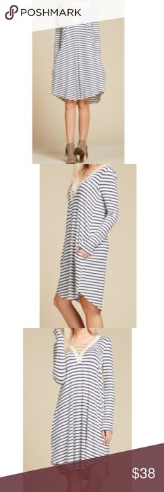🆕 striped lace up dress So pretty striped lace up dress with side pockets PLEASE Use the Poshmark new option you can purchase and it will give you the option to pick the size you want ( all sizes are available) BUNDLE and save 10% ( no trades price is firm unless bundled) Dresses Midi
