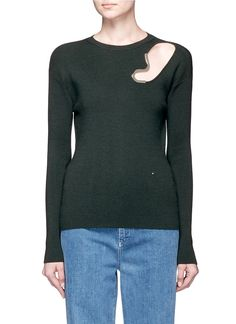 ESTEBAN CORTAZAR Metal trim cutout virgin wool-silk sweater. #estebancortazar #cloth #sweater