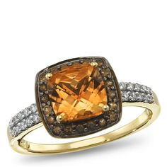 10K Yellow Gold, 1/8 ctw, Smoky Quartz, Citrine, Diamond Accent Ring. Part of the Matisse Collection. Bold Use of color. Intricate. Handcrafted Settings are why this collection is named after an artist.