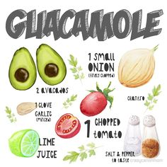 Guacamole Recipe Art Print: available as t shirt, hoodie, graphic tee, stickers,  phone cases, prints, cards, posters, home décor, pillows, totes, laptop skins, duvets, coffee mugs, travel mugs, leggings, pencil skirts, scarves, tablet cases, bags, notebooks, journals, canvases, metal prints, drawstring bags, phone wallets, contrast tanks, Chiffon tops, graphic t shirt dress, a-line dress, wall tapestry, clocks, acrylic block, slaps