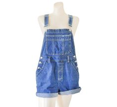 Women Denim Overall Shorts Denim Shortall Denim by TheVilleVintage, $37.99