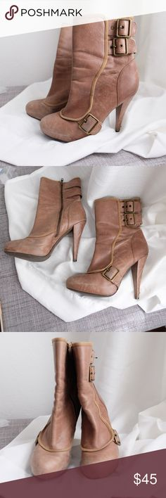 """ALDO Boots in Tan Leather Beautiful Tan Also Boots Tan/ Brown Real Leather  3 Side Buckles  Some wear/ scuffing near bottoms but brings out character 4.5"""" heel ALDO Shoes Ankle Boots & Booties"""