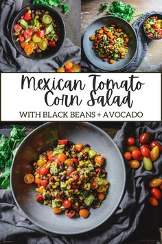 A delicious, fresh, and filling Mexican Tomato Salad with Black Beans, Corn, and Avocado that makes for a perfect summer salad or side dish. #mexicantomatosalad #tomatosalad #vegansalad #summersalad #summersidedishes #cornrecipes #summercorn #blackbeans #saladrecipes #simplesaladrecipes Corn Recipes, Easy Salad Recipes, Mexican Food Recipes, Healthy Recipes, Ethnic Recipes, Easy Summer Meals, Summer Salads, Summer Recipes, Savory Salads