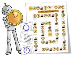 Jeu_de_l_heure_BDG_article. Teaching French, Learning Through Play, Multiplication, Educational Activities, Math Games, Homeschool, Clock, Place Card Holders, Kids