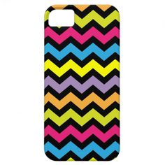 Black Chevron Zigzags with Bright Colors iPhone 5 Case