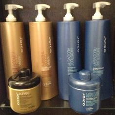 My back bar at the salon and in my shower currently! I love these at the moment because it makes the hair so crazy soft ! What is your favorite shampoo and treatment to use in the shower or at the salon and why?