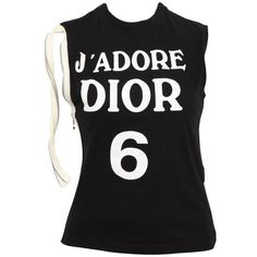 """Preowned John Galliano For Christian Dior """"j'adore Dior"""" Tank Top... ($895) ❤ liked on Polyvore featuring tops, multiple, christian dior and logo top"""