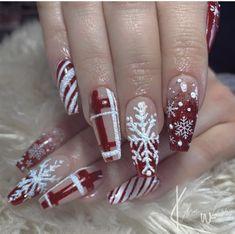 Xmas Nails, Holiday Nails, Christmas Nails, Gel Nail Polish Set, Gel Nails, Love Nails, How To Do Nails, Christmas Nail Stickers, Holiday Nail Designs