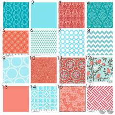 Color and pattern inspiration - Coral and Aqua and pink