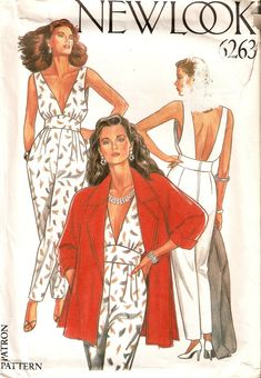 New Look 6263 Misses Plunging Neckline Open Back Jumpsuit Sleeveless and Jacket Uncut Sewing Pattern Size 8 10 12 14 16 18 by CrumpetsandJam on Etsy Fashion Illustration Sketches, Fashion Design Sketches, Vintage Vogue Patterns, Vintage Outfits, Vintage Fashion, Sewing Patterns Free, Free Sewing, Jumpsuit Pattern, Oversized Jacket