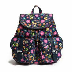Preppy Floral Print Canvas Backpack School Bag For Girls