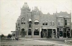 OK, Newkirk, Oklahoma, RPPC, National Bank, Drug Store, Hixson Photo