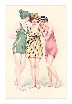 Vintage swim wear girls- not but cute Illustration Mode, Illustrations, Vintage Pictures, Vintage Images, Bathing Costumes, Bathing Beauties, Beauty Art, Vintage Postcards, Vintage Prints