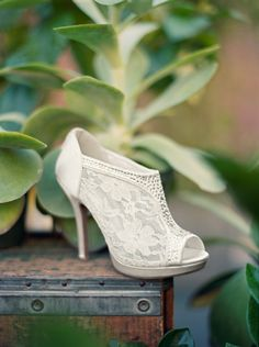 David's Bridal Lace High Heel Shootie with Flatback Crystals Style AYAEL9