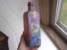 BEAUTIFUL RAINBOW IRRIDESCENT 1860s DUG SQUARE AMBER BITTERS BOTTLE DRIPPY LIP in Collectibles, Bottles & Insulators, Bottles   eBay