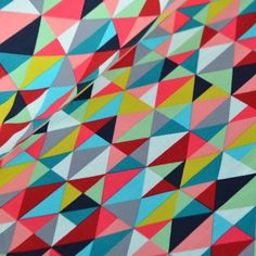 Mosaic in pink, turquoise, yellow and black: Beautiful, soft, sweatshirt fabric, exceptional quality!