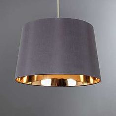 This grey ceiling pendant is designed with a metallic gold inner and is crafted from a faux silk fabric. Rose Gold Lamp Shade, Gold Lamp Shades, Light Shades, Gold Light Shade, Gold Ceiling, Ceiling Rose, Ceiling Pendant, Light Pendant, Ceiling Lights