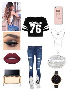 """MS.brooklyn"" by michelle-martinez890 on Polyvore featuring Boohoo, J Brand, adidas, Lime Crime, Givenchy and Olivia Burton"