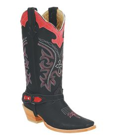 Look what I found on #zulily! Black & Red Stitched Leather Cowboy Boot by Joe Boots #zulilyfinds
