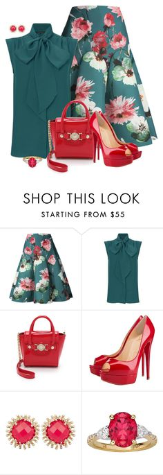 """""""Christiana"""" by rotwein ❤ liked on Polyvore featuring Delpozo, French Connection, Versace, Christian Louboutin and Kendra Scott"""